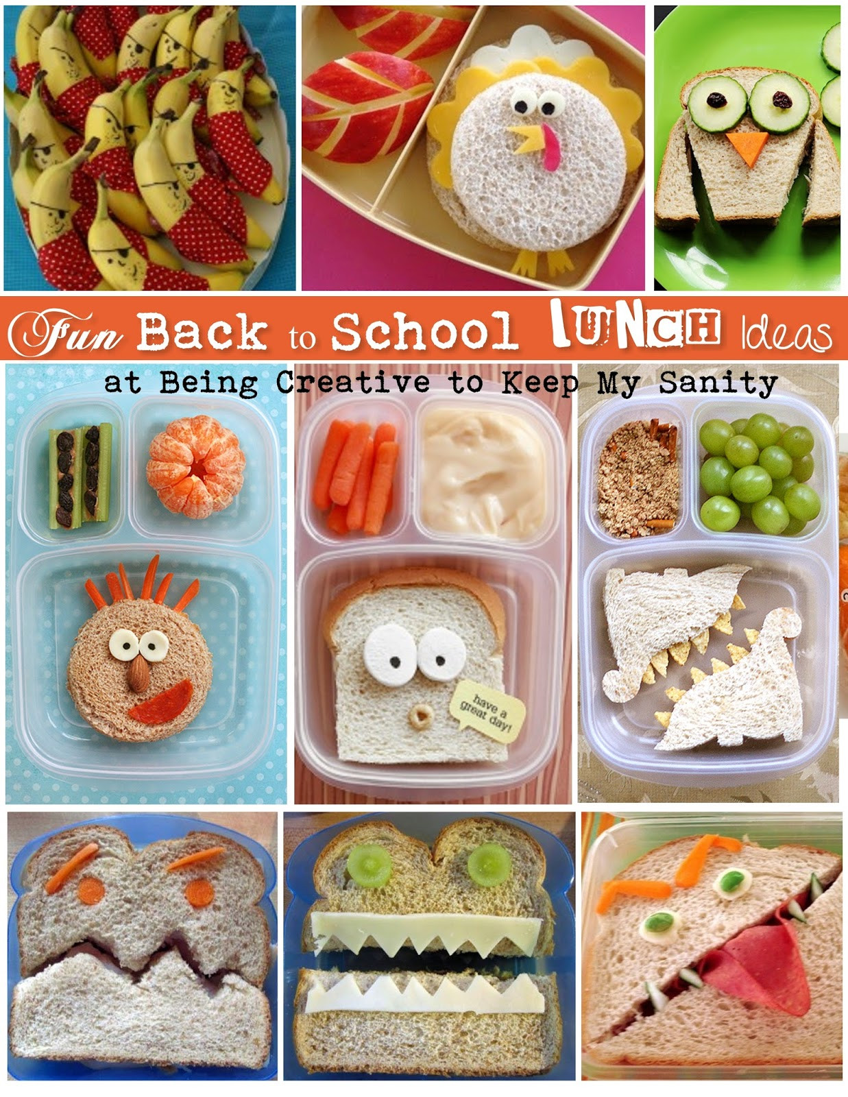 Back To School Lunch Ideas  Being creative to keep my sanity Back to School Lunches