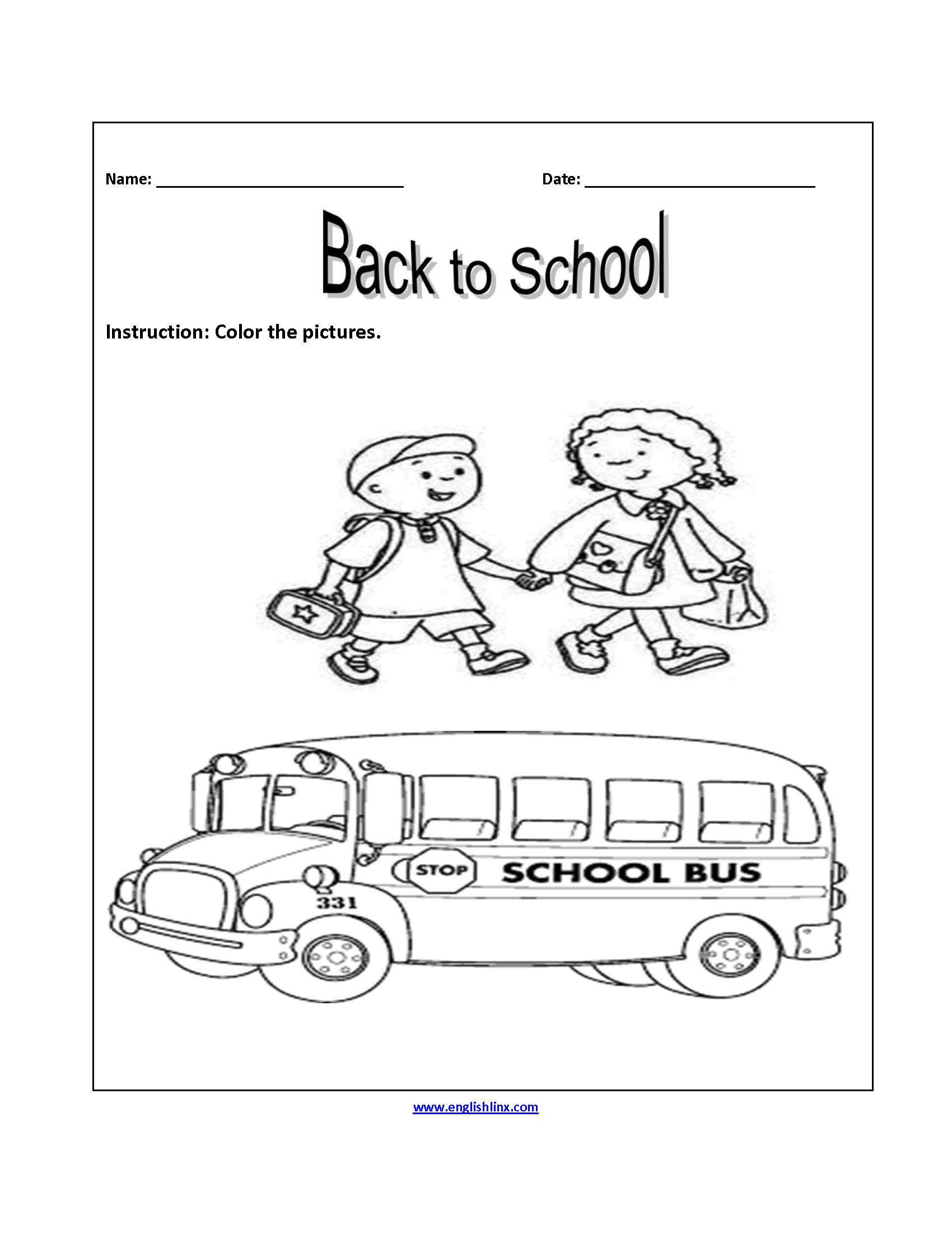 Back to School Worksheets Awesome Englishlinx