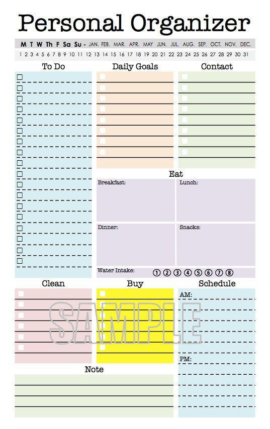Best Organizer Planner  55 best images about Half size printables on Pinterest