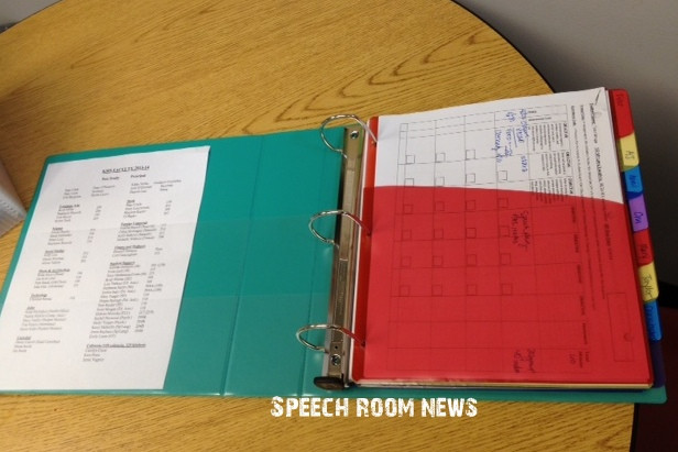 Binder Organization System  SLP 101 Working Folders Speech Room News