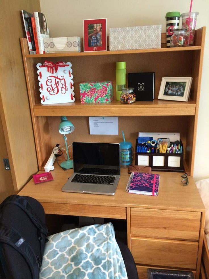 College Desk Organization  Desk organizing dorm residencehall