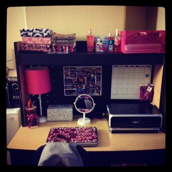 College Desk Organization  College dorm desk Desktop organization and Dorm desk on