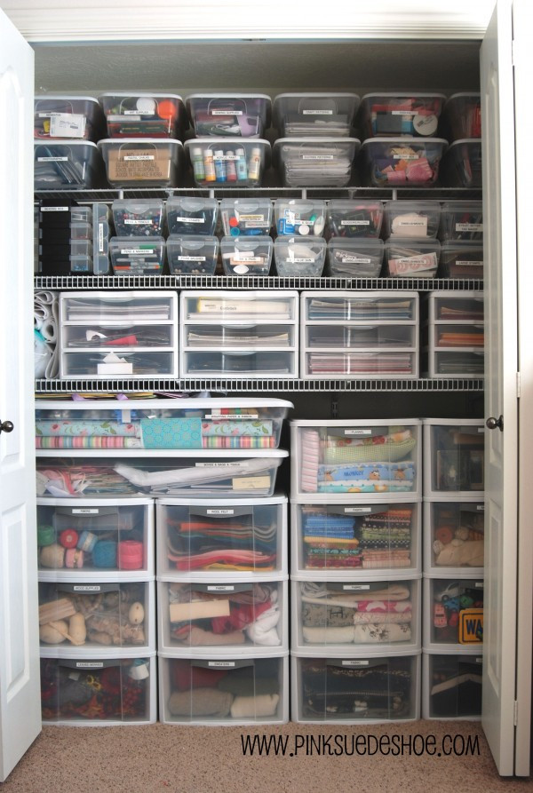 Craft Closet Organizer  Home is Where my Heart is Art Closet Reveal Before and
