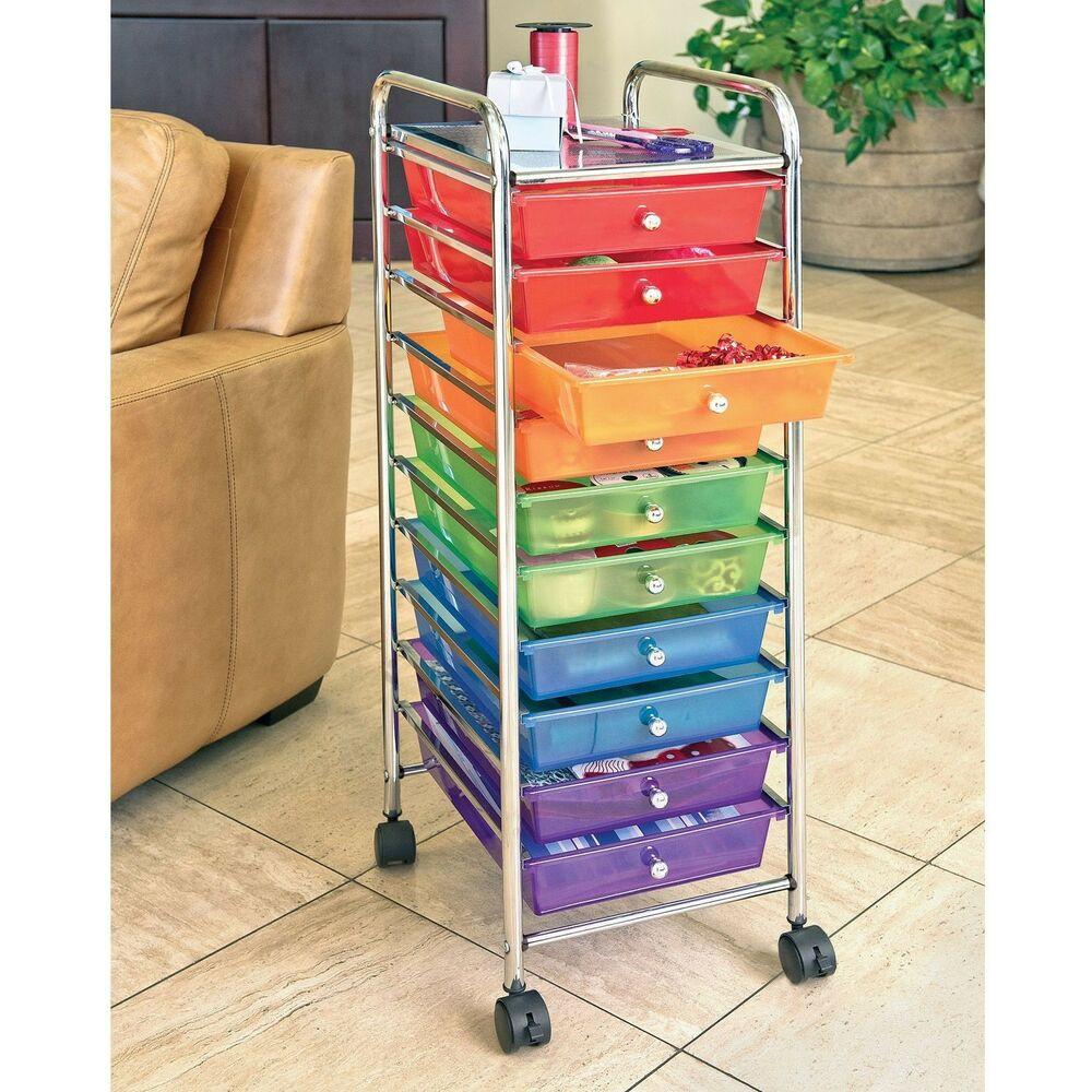 Craft Organizer Cart  10 DRAWER STORAGE CART RAINBOW CRAFT OFFICE GARAGE BEDROOM