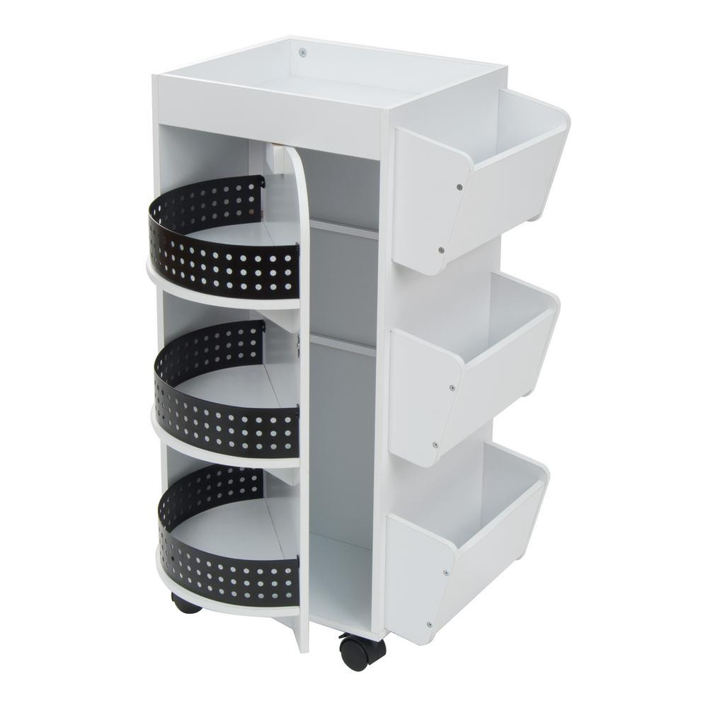 Craft Organizer Cart  21 75 in W x 14 25 in D x 34 5 in H Swivel 3 Shelf PB