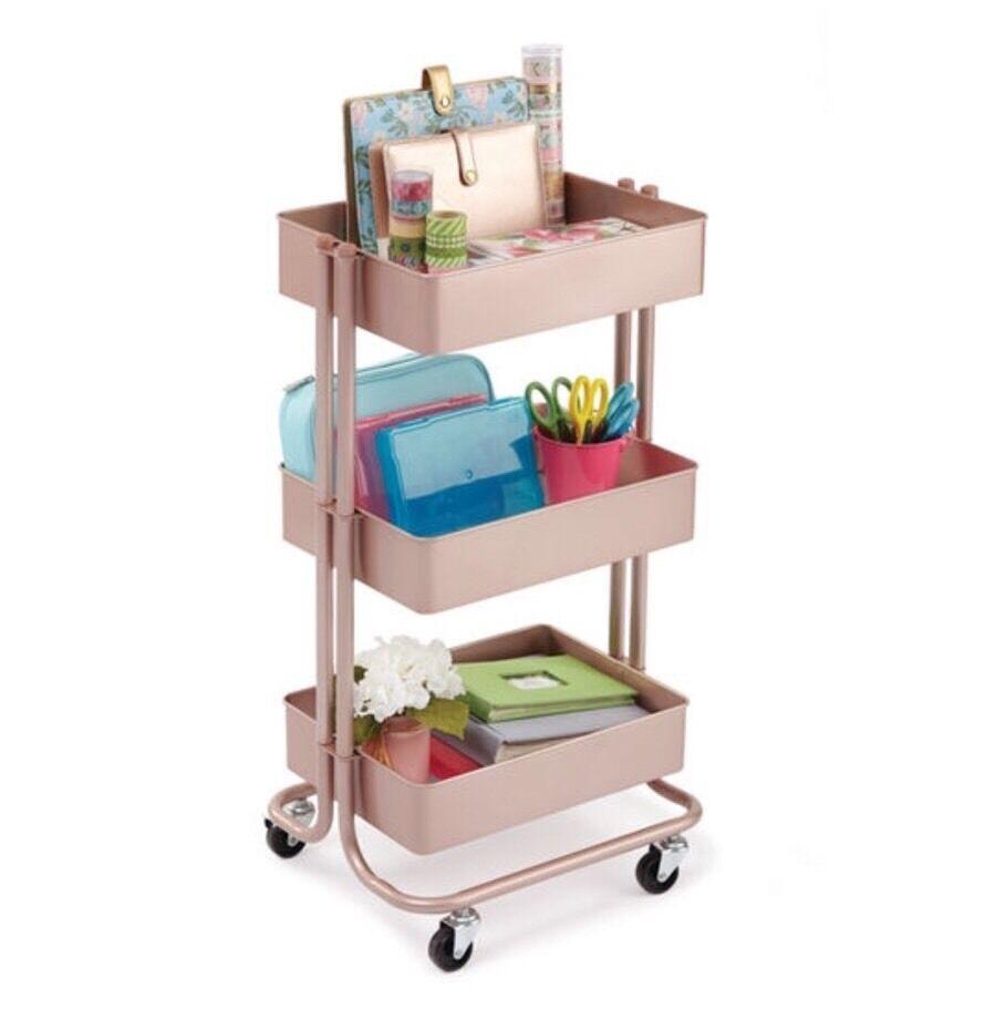 Craft Organizer Cart  NEW Rose Gold Michaels Rolling Craft Storage Utility Metal