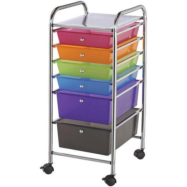 Craft Organizer Cart  Shop Blue Hills Studio Multicolor 6 drawer Rolling Storage