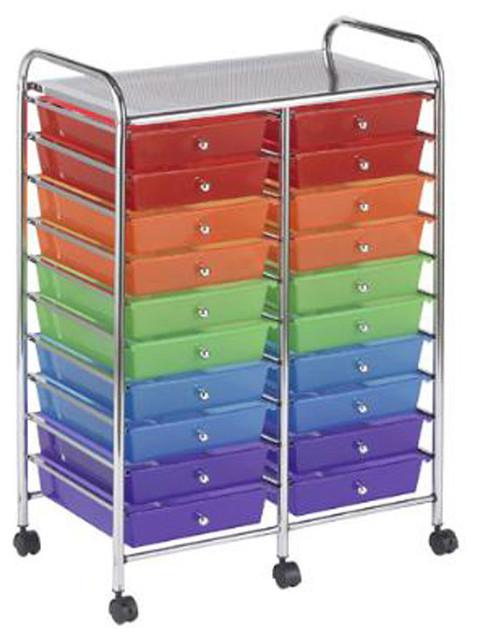 Craft Organizer Cart  Ecr4Kids 20 Drawer Mobile Craft Storage Organizer