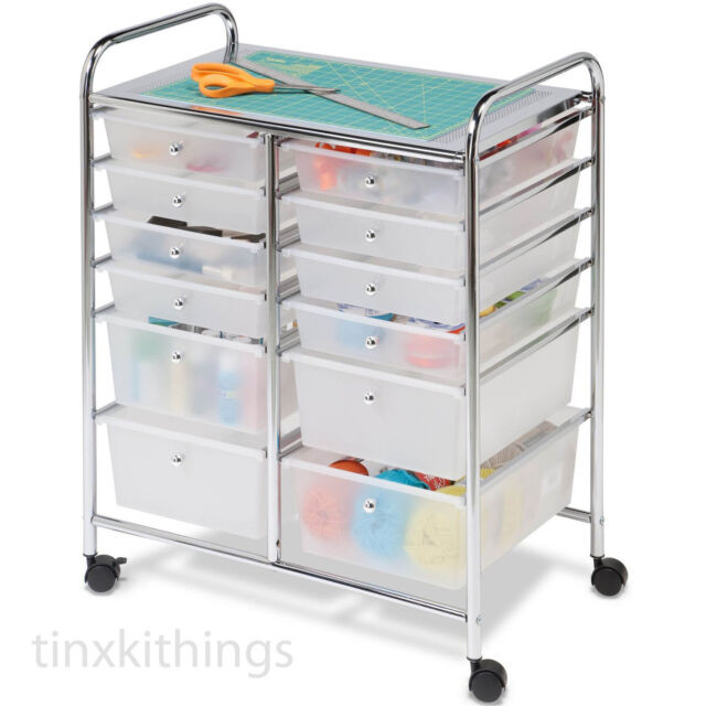 Craft Organizer Cart  Craft Storage Cart Containers With 12 Drawers Rolling
