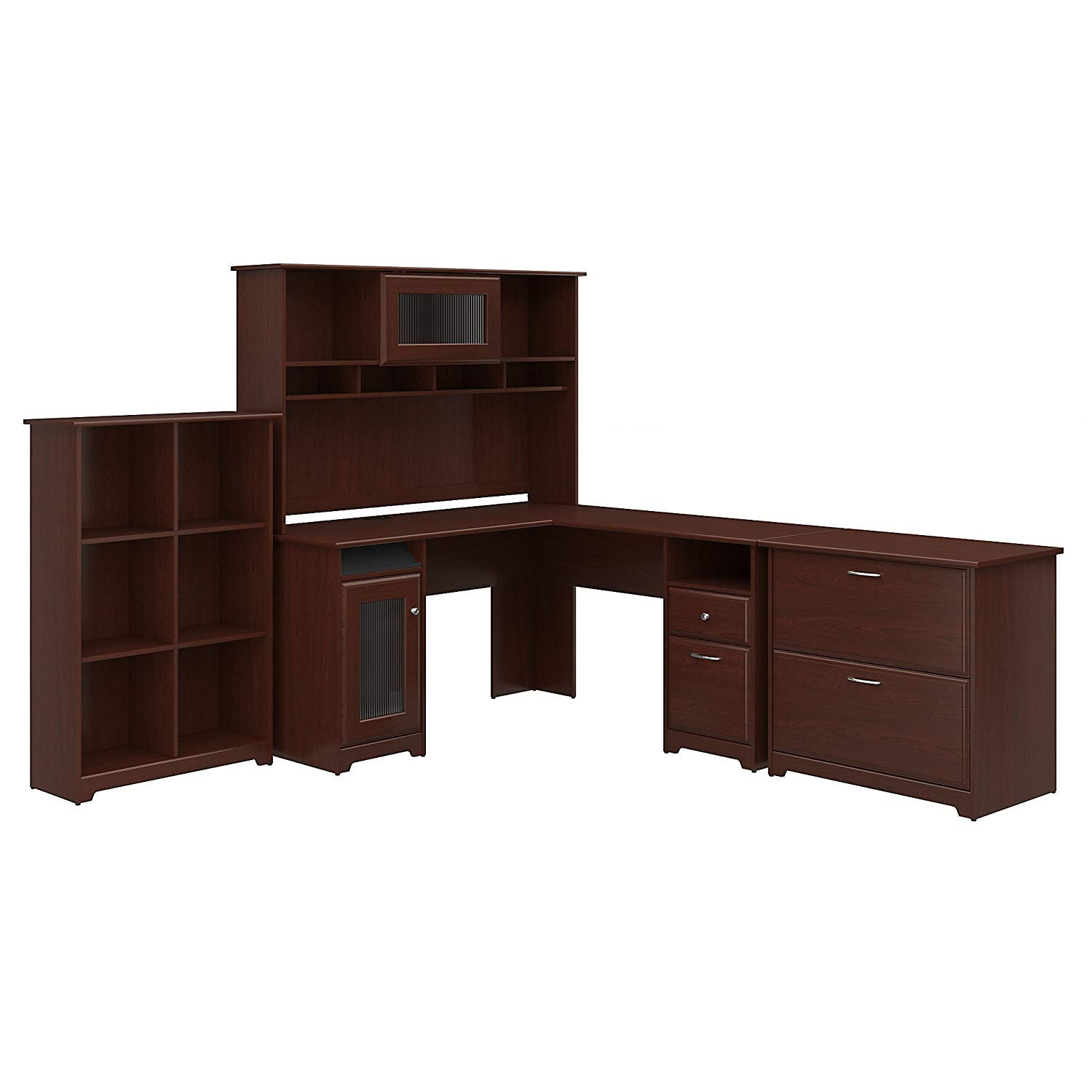 Cube Organizer Desk  Bush Furniture Cabot L Shaped Desk with Hutch 6 Cube