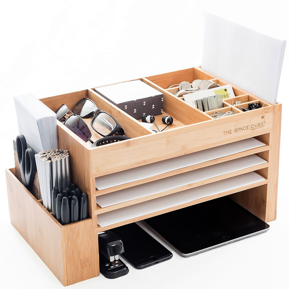 Cube Organizer Desk  Wood Desk Organiser and Docking Station The Space Cube