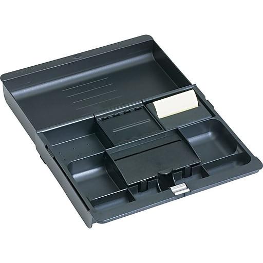 Desk Drawer Organizer Tray  3M™ Black Plastic Adjustable Desk Drawer Organizer