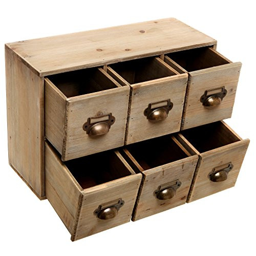 Desk organizer Box Fresh Vintage Style Wood 6 Drawer Cabinet Box Decorative