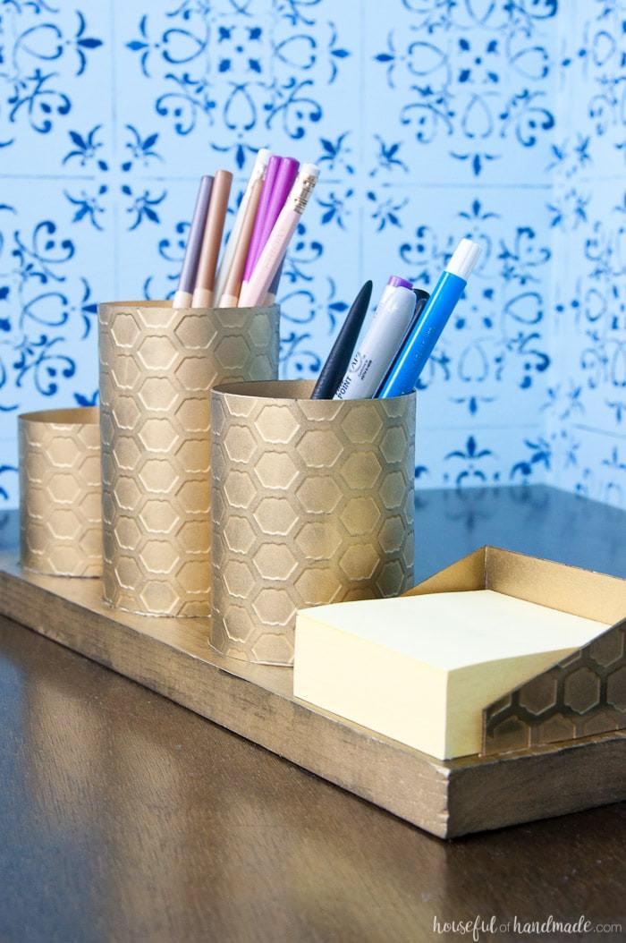 Desk Organizer Diy  DIY Desk Organizer with Painted Brass Houseful of Handmade