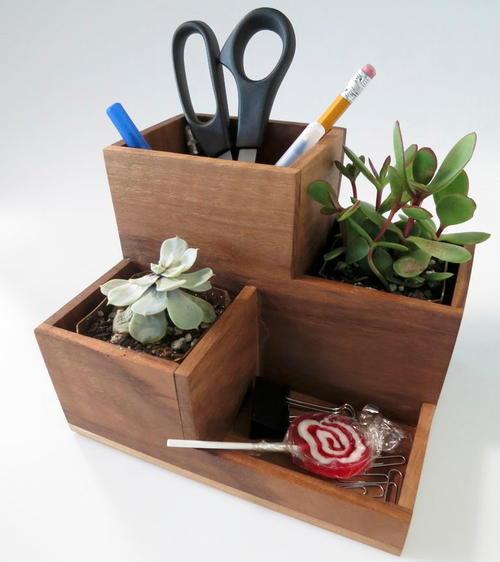 Desk Organizer Diy  DIY Desk Organizer and Succulent Planter