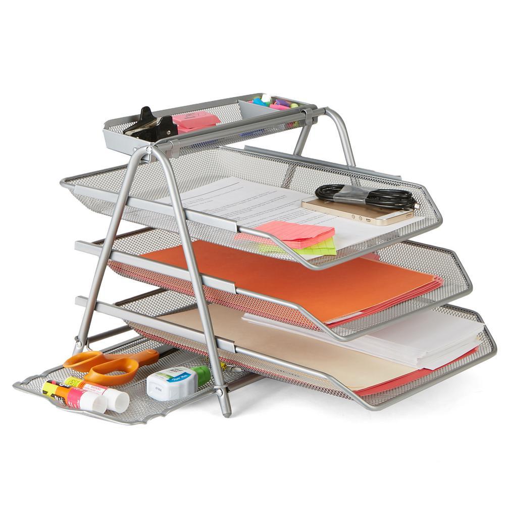 Desk Organizer Tray  3 Tier File Tray Silver Metal Mesh Desk Organizer Home