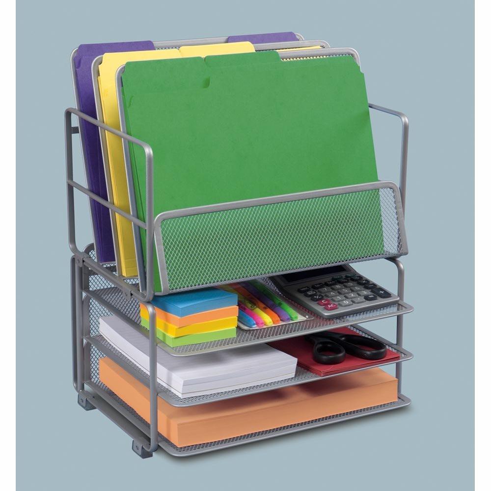 Desk Organizer Tray  Seville Classics fice Desk Organizer Platinum Mesh 6