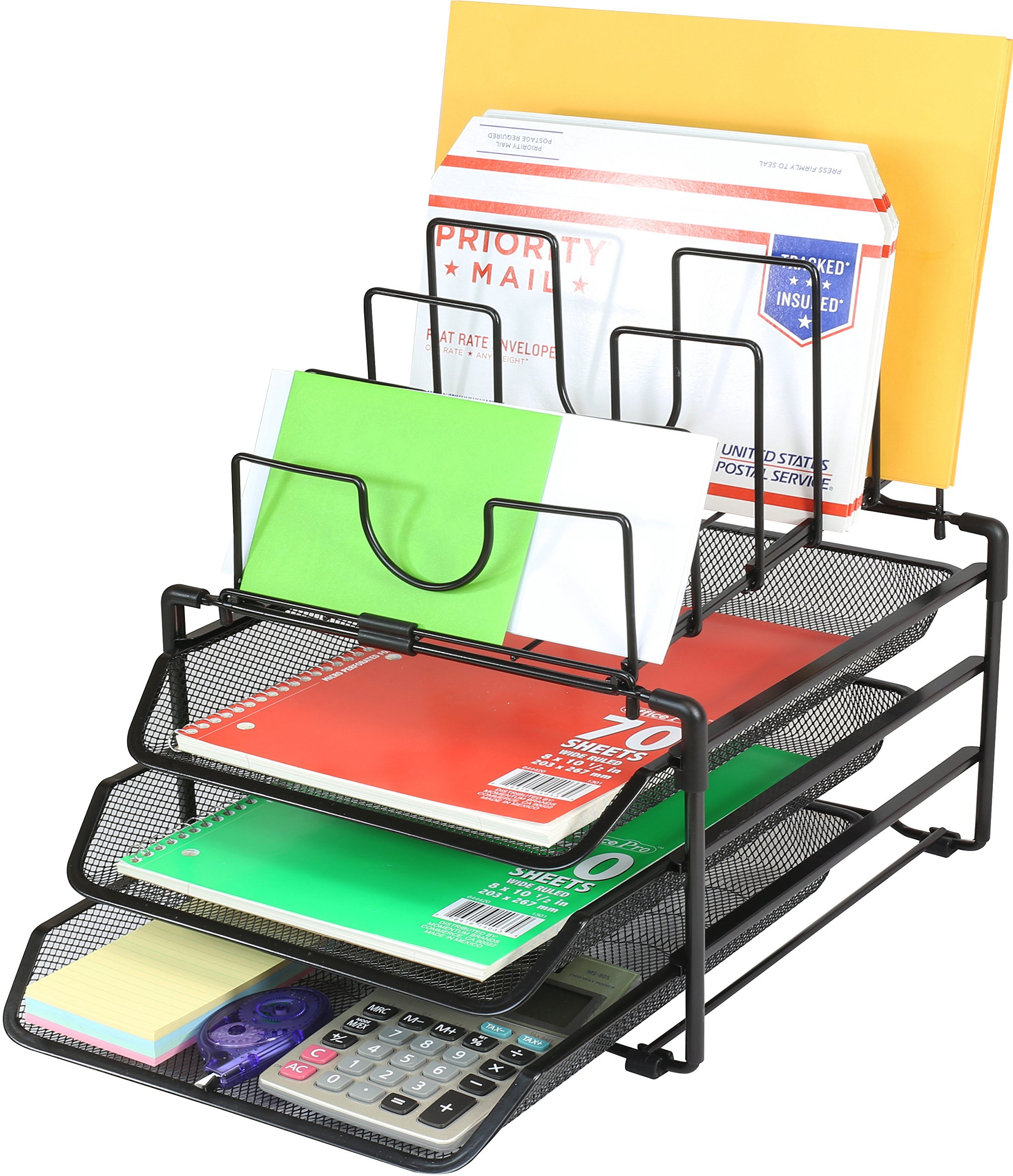 Desk Organizer Tray  DecoBros Stackable Mesh Desk Organizer 3 Letter Trays and