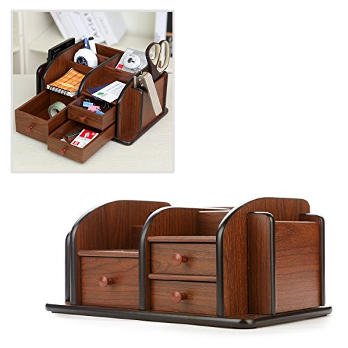 Desk Organizer With Drawers  MyGift Drawer Organizers Classic Brown Wood fice