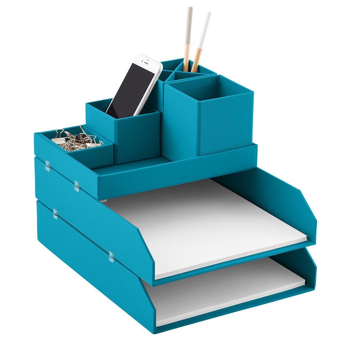Desk Top Organizer  Bigso Turquoise Stockholm Desktop Organizer