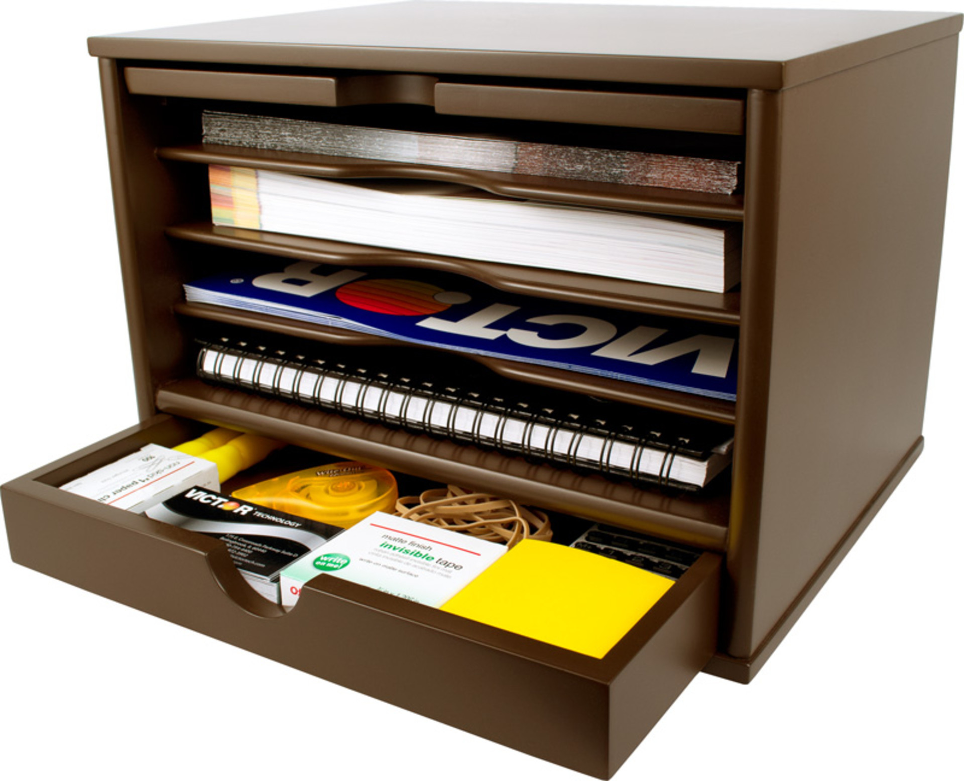 Desk Top Organizer  Victor B4720 Mocha Brown Desktop Organizer Victor