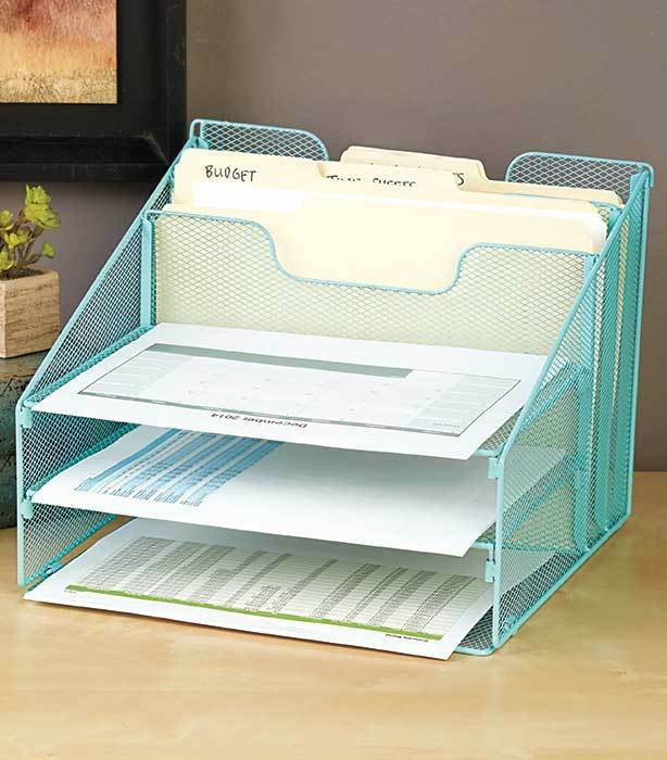 Desktop File Folder Organizer  Blue Mesh Desktop File Organizer W 5 partments fice