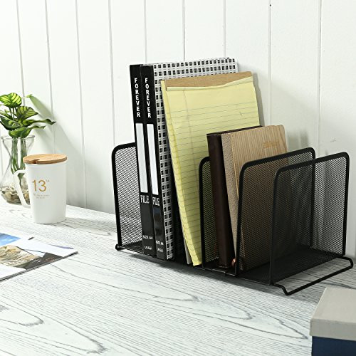 Desktop File Folder Organizer  MyGift Mesh Metal 5 Slot Desktop Document Organizer File