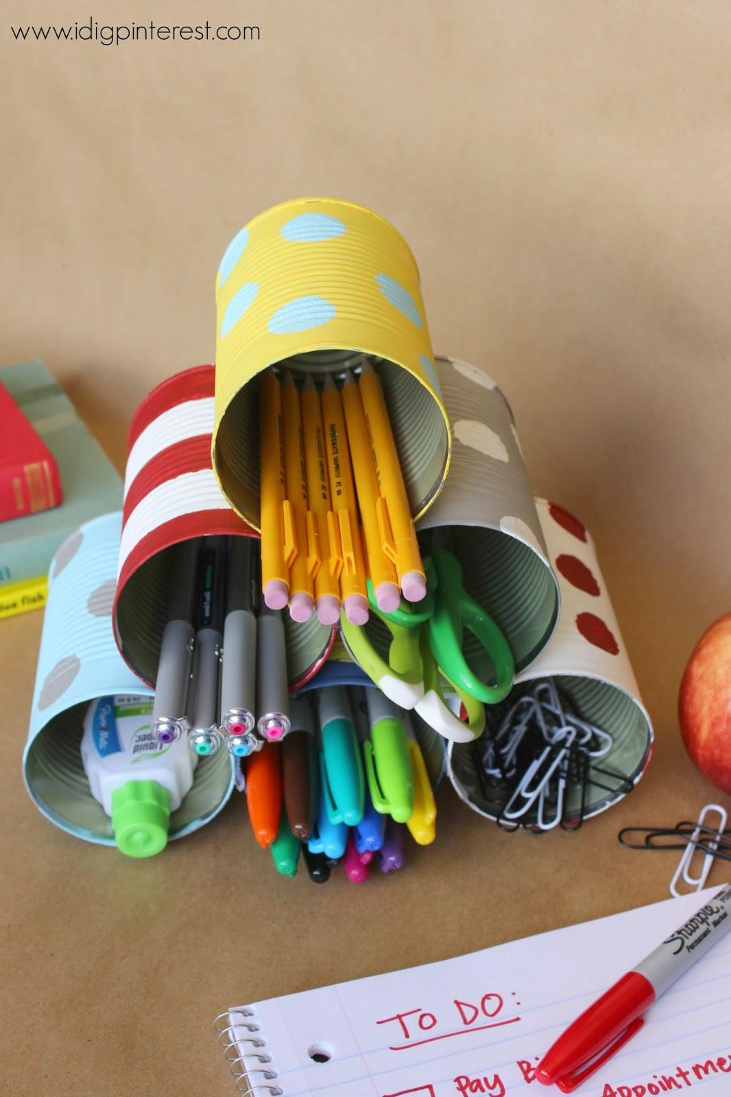 Diy Desk Organization  I Dig Pinterest DIY Tin Can Desk Supply Organizer