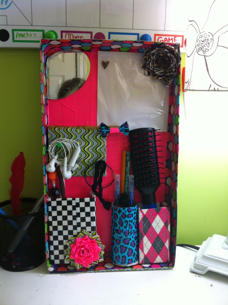 Diy Locker Organization  Ductape locker organizer DIY Pinterest