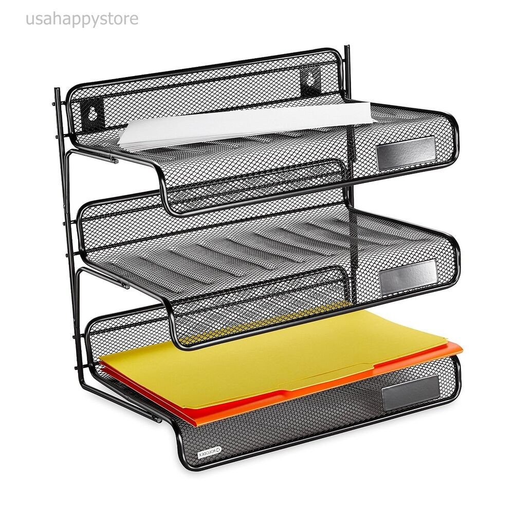 Office Shelf Organizer  Rolodex Desk Shelf Organizer 3 Tier Plastic Storage Tray