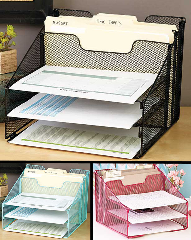 Paper File Organization  5 partment Desktop File Organizer IN HAND Desk Paper