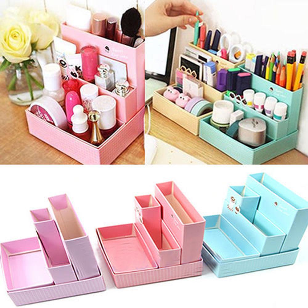 Paper Organizer For Desk  Home DIY Makeup Organizer fice Paper Board Storage Box