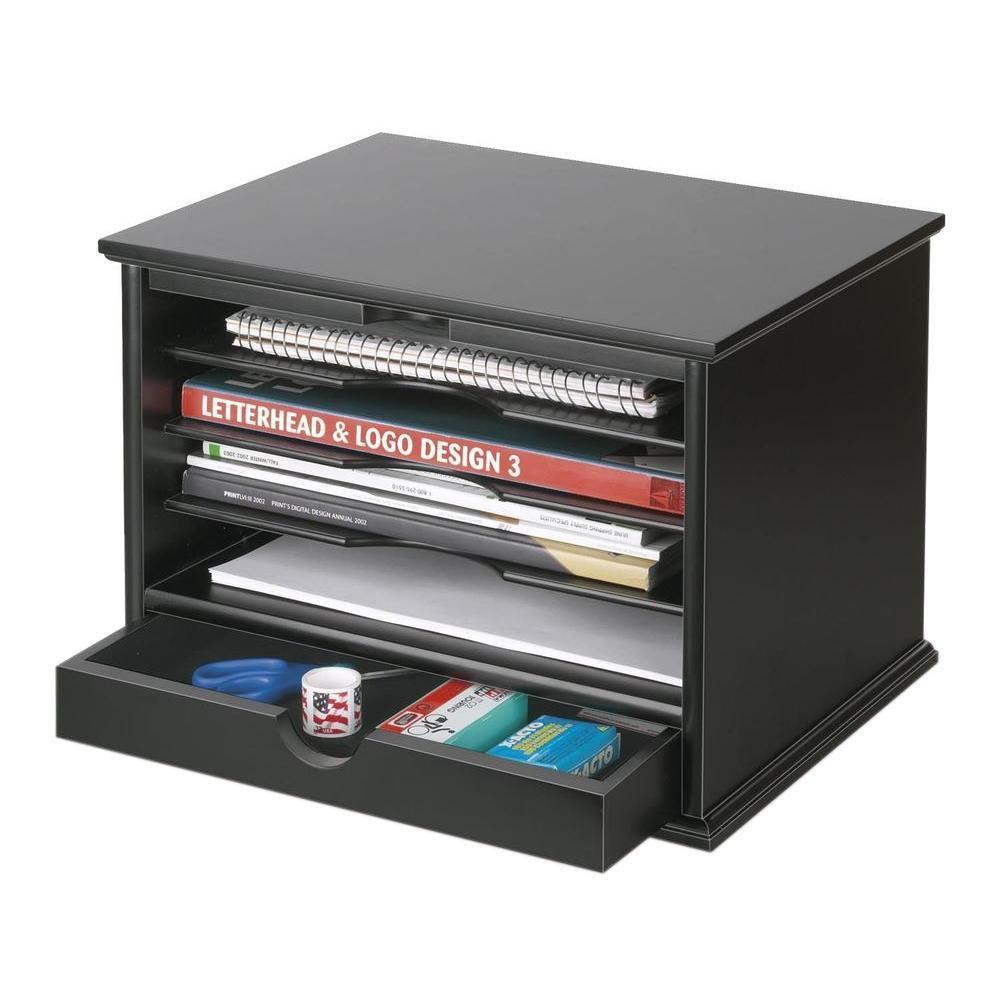 Paper Organizer For Desk  Victor 4 Shelf Desktop Organizer Black 4720 5 The Home