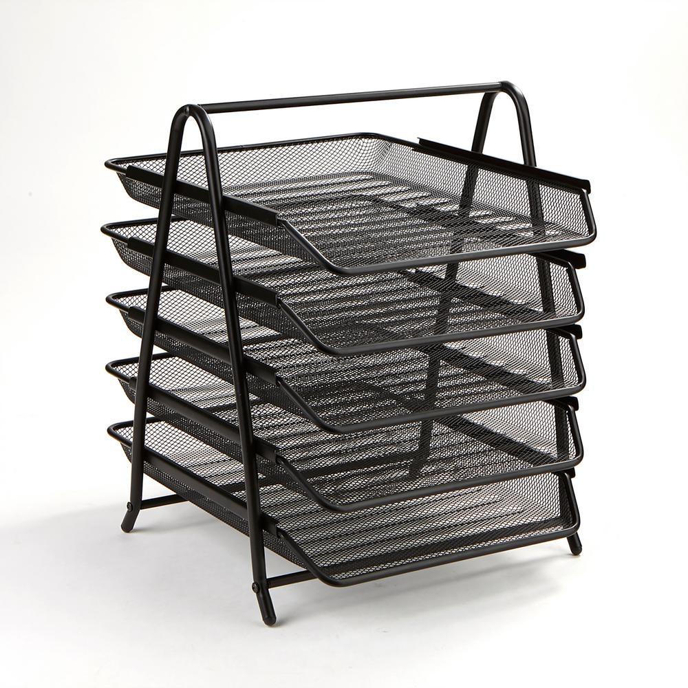 Paper Organizer For Desk  Mind Reader 5 Tier Steel Mesh Paper Tray Desk Organizer