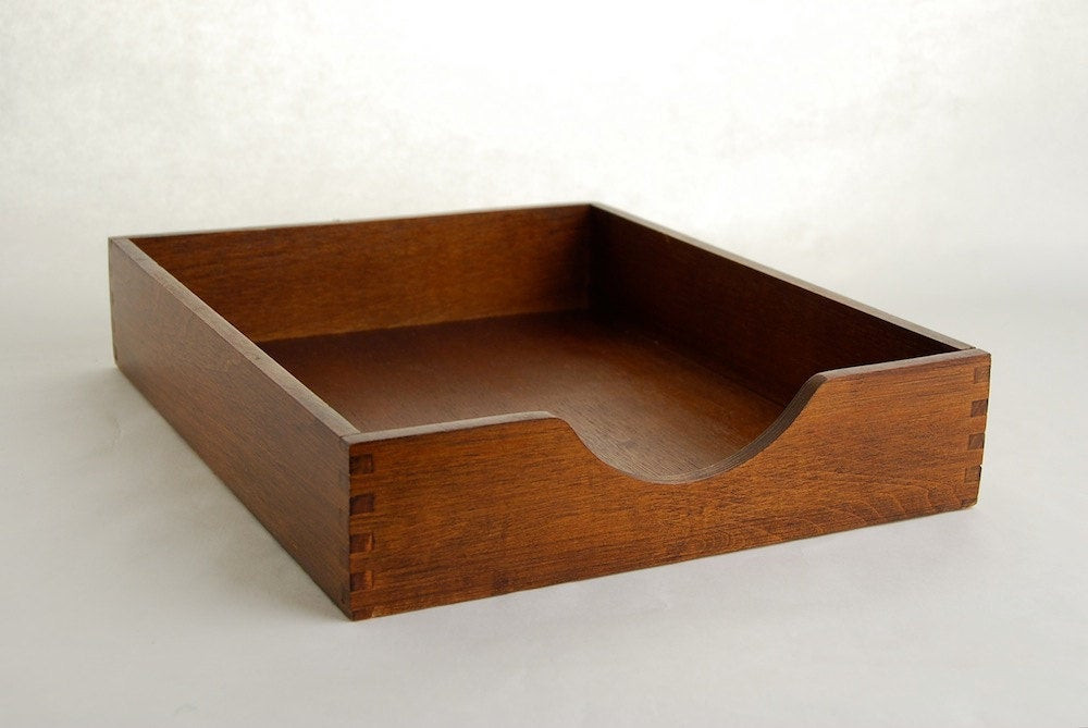 Paper Tray Organizer  Vintage Wood Paper Tray Organizer