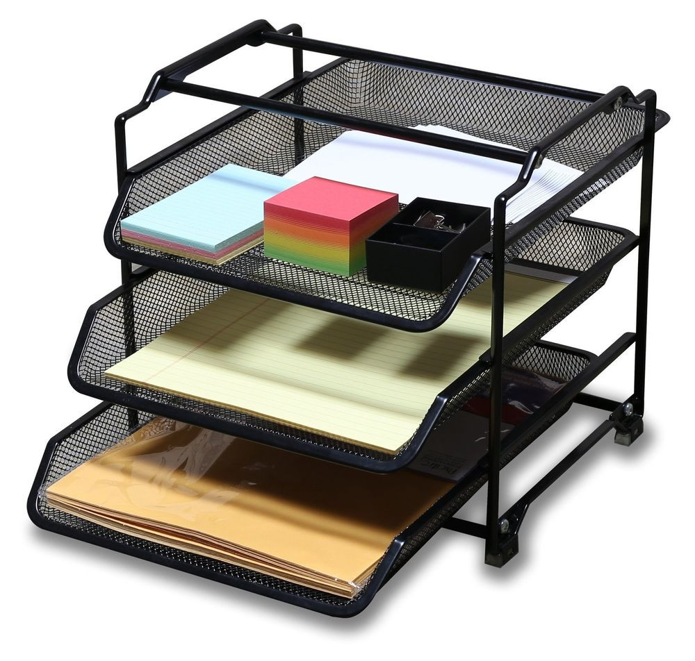 Paper Tray Organizer  DecoBros STACKABLE 3 Tier Desk Document Letter Tray