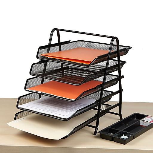 Paper Tray Organizer  Mind Reader 5 Tier Steel Mesh Paper Tray Desk Organizer