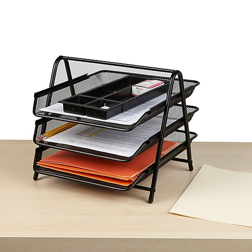 Paper Tray Organizer  Mind Reader 3 Tier Steel Mesh Paper Tray Desk Organizer