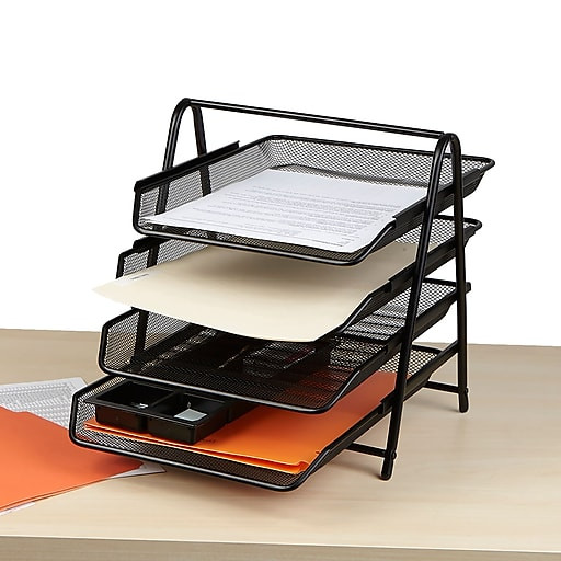 Paper Tray Organizer  Mind Reader 4 Tier Steel Mesh Paper Tray Desk Organizer