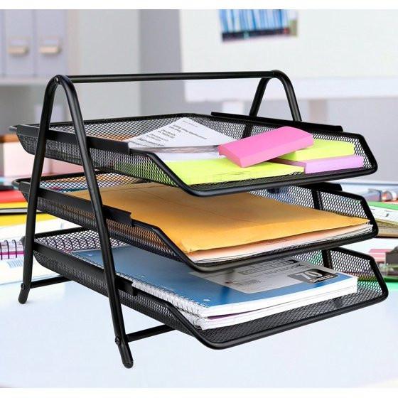 Walmart Desk Organizer  Greenco Mesh 3 Tier Document Letter Tray Desk Organizer