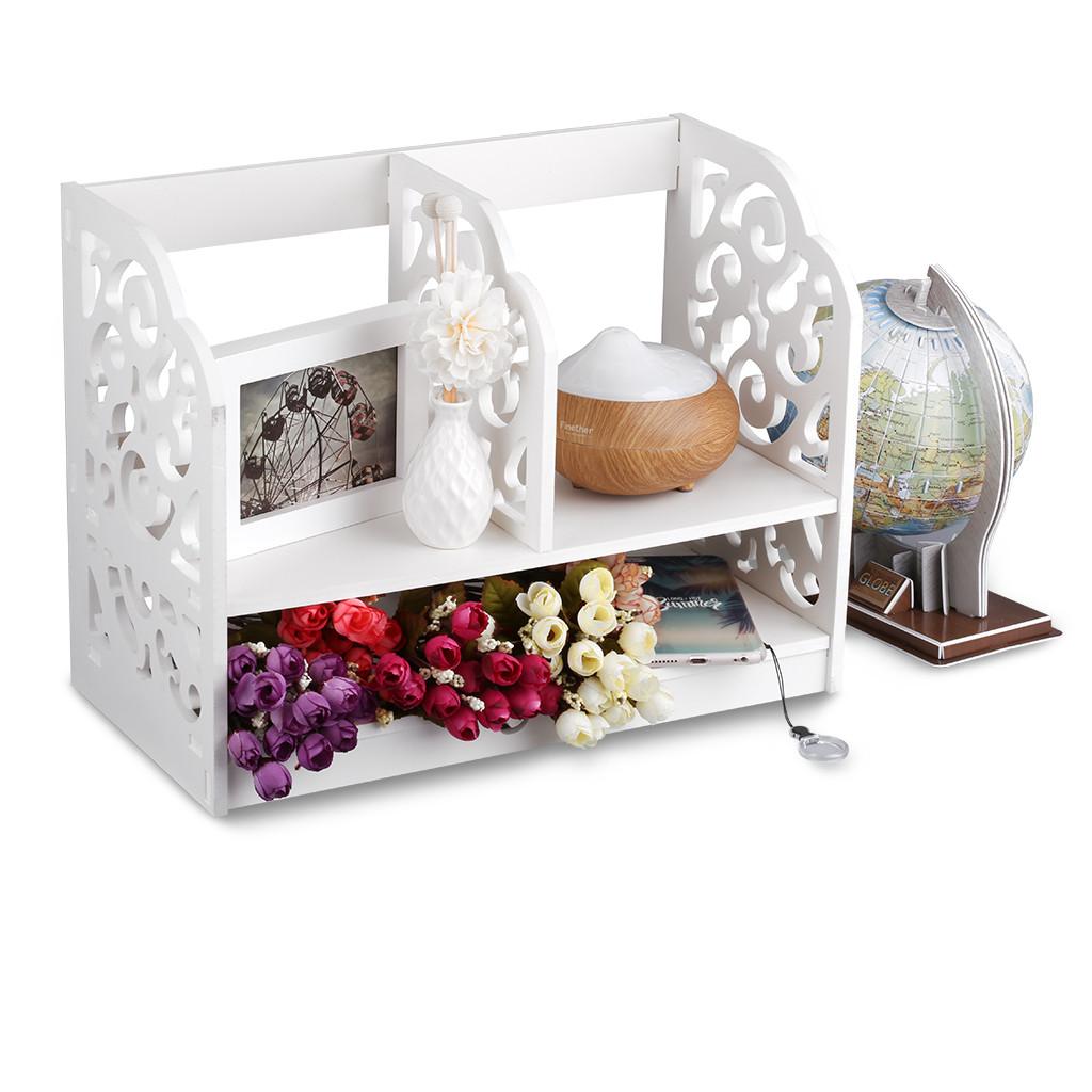 White Desk Organizer  2 Tier White Desktop Organizer Desk Storage Rack Shelf for