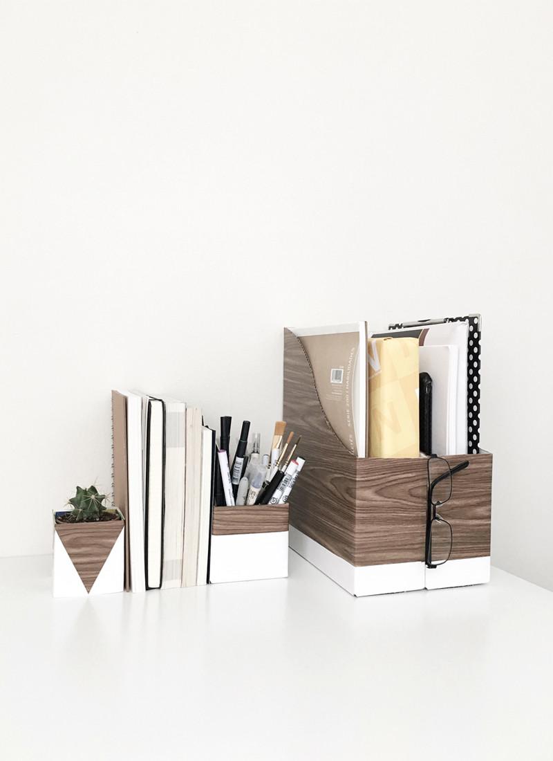 White Desk Organizer  25 Clever DIY Organization Ideas