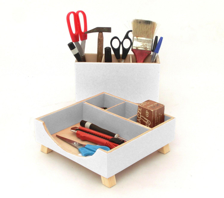 White Desk Organizer  White acrylic Desk Organizer Wood Desktop Organizer Pen