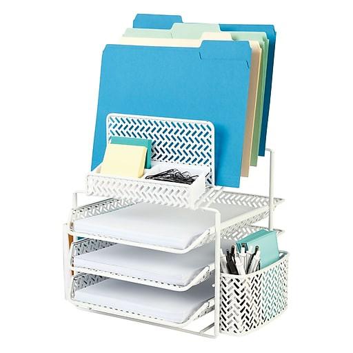 White Desk Organizer  Staples All in e White Zigzag Desk Organizer