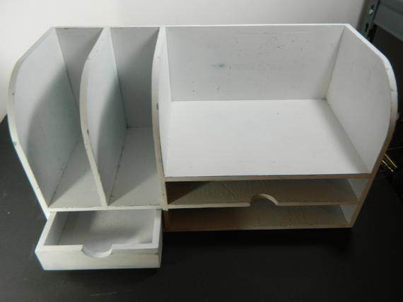 White Desk organizer New Vintage Wood Desk organizer Distressed White by