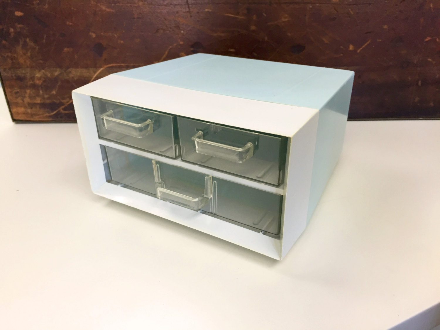 White Desk Organizer  Blue & White Desk Organizer with 3 Drawers Campro Made in